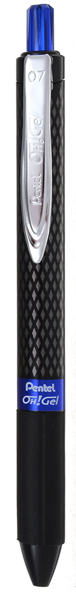 Pentel Гелевая ручка Oh!Gel цвет стержня синийPK497-CАвтоматическая гелевая ручка Oh!Gel с мягкой зоной захвата в стильном черном корпусе с металлическим клипом.Ручка Oh!Gel имеет металлический тонкий пишущий узел. Чернила Pentel обеспечивают легкое комфортное письмо и безупречное качество линий.