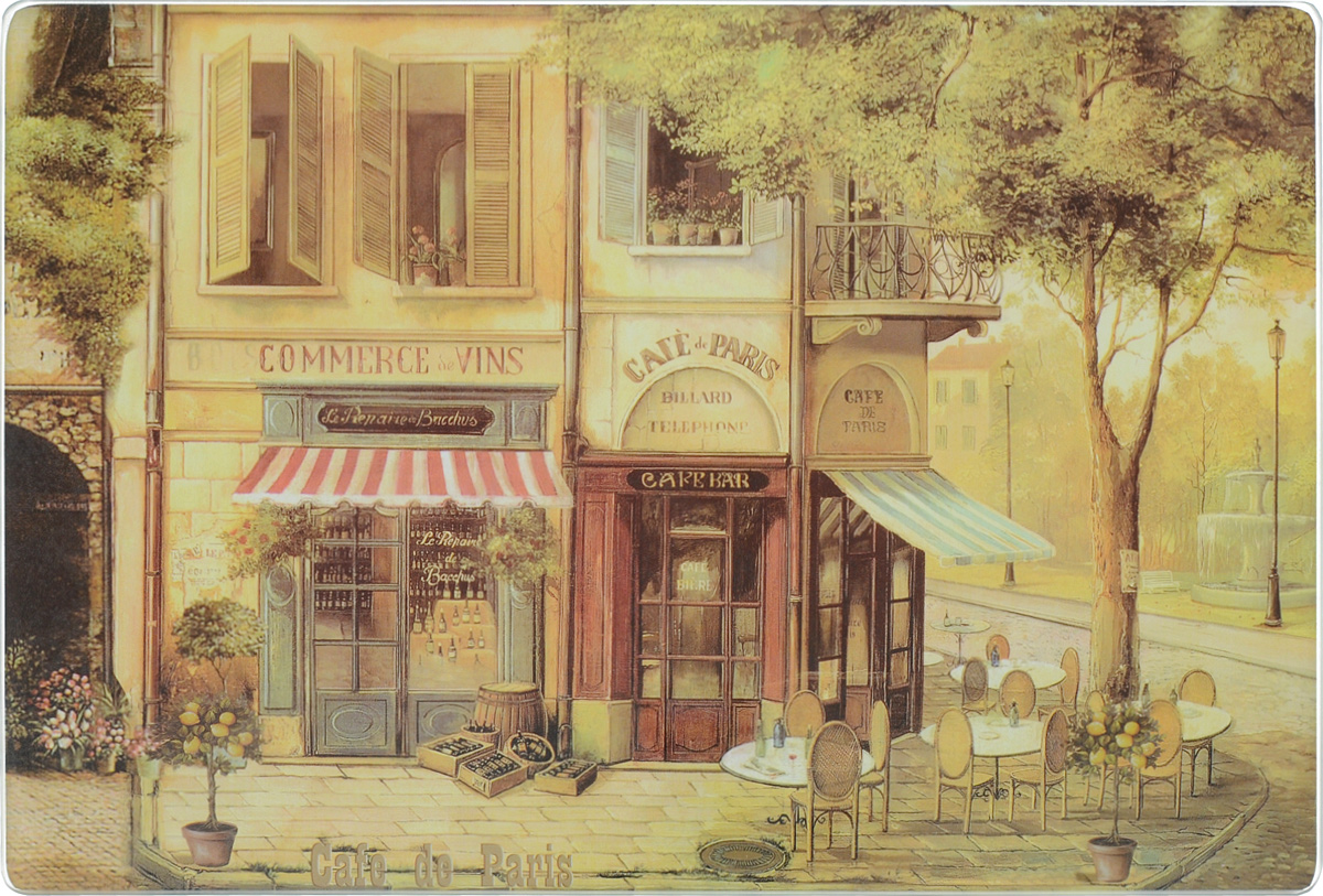 Доска разделочная Gift'n'Home Парижское кафе, стеклянная, 30 х 20 см цена