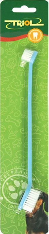 Зубная щетка для собак Triol, двойная, 21 см, в ассортименте набор дорожный мыльница зубная щетка и футляр мультидом tl34 93 в ассортименте