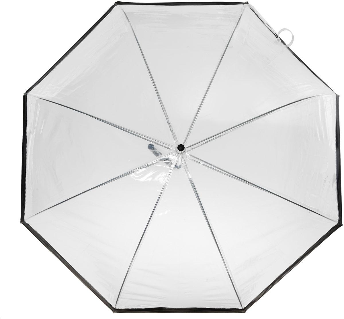 Зонт-трость женский Эврика, механика, цвет: прозрачный, черный. 91668