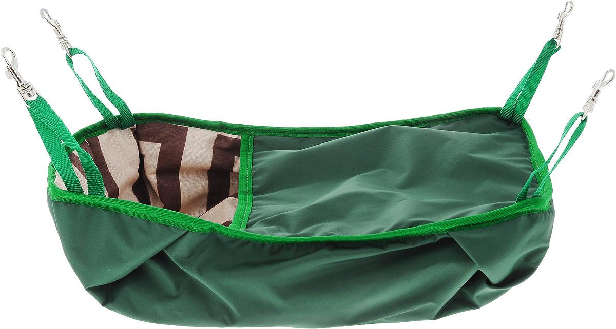 Гамак-кроватка для шиншилл и хорьков ЗооМарк, подвесной, цвет: зеленый. Д-12З гамак кроватка для шиншилл и хорьков зоомарк подвесной цвет красный д 12к