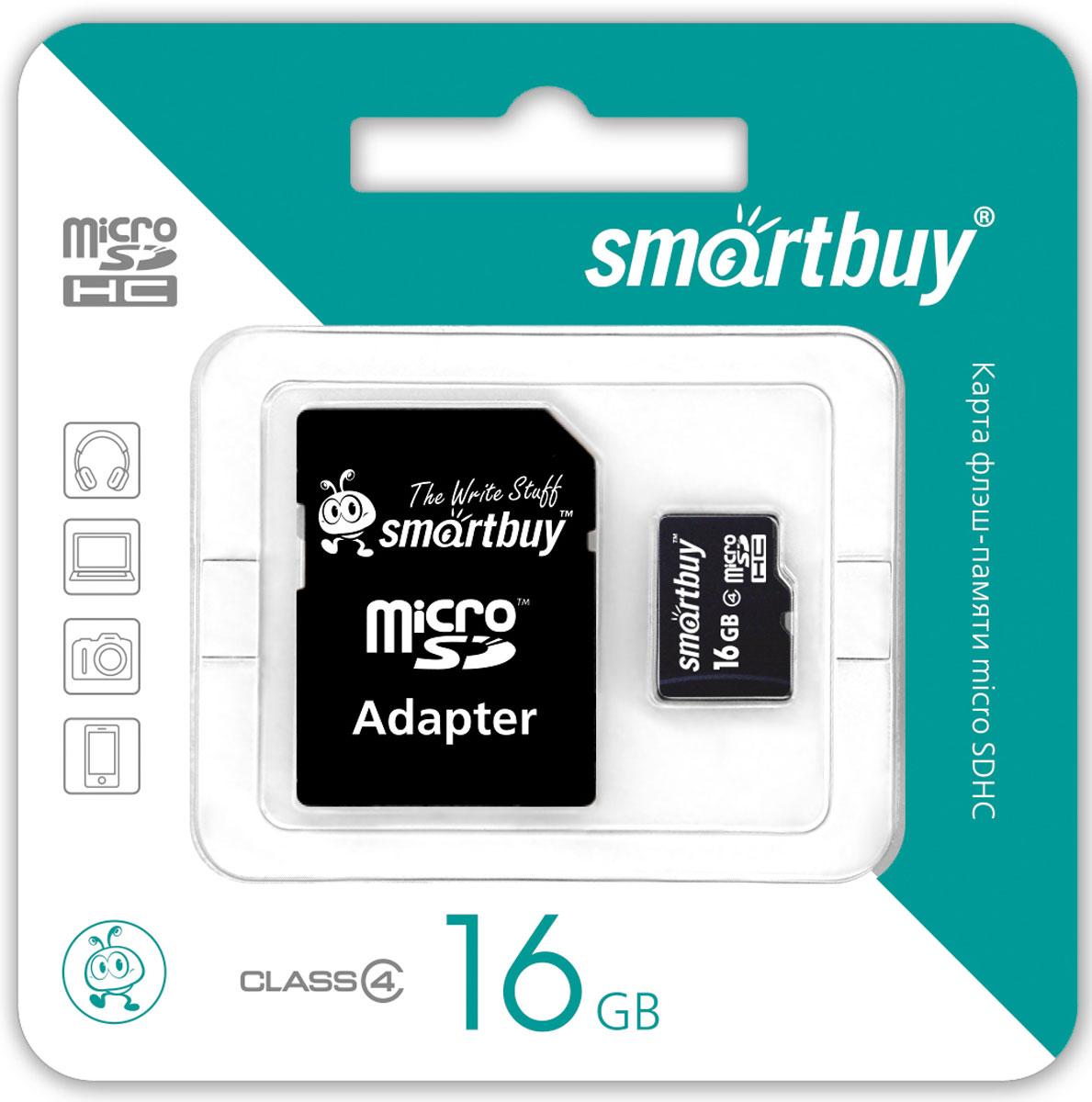 SmartBuy microSDHC Class 4 16GB карта памяти (с адаптером SD) стоимость