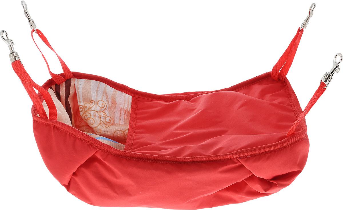 Гамак-кроватка для шиншилл и хорьков ЗооМарк, подвесной, цвет: красный. Д-12К гамак кроватка для шиншилл и хорьков зоомарк подвесной цвет красный д 12к