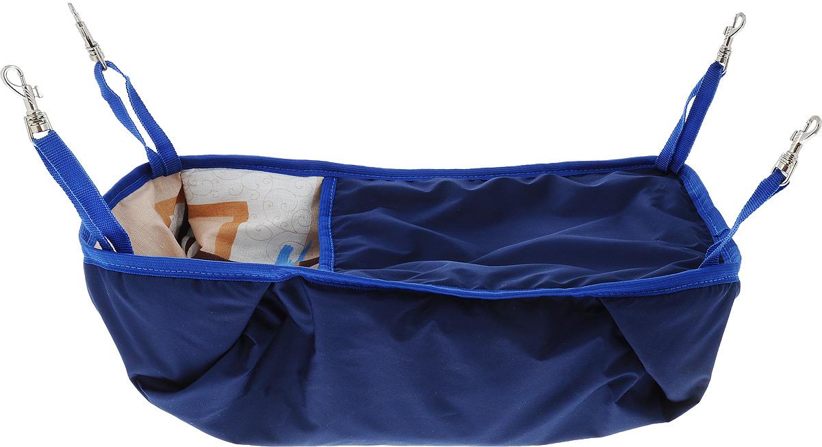 Гамак-кроватка для шиншилл и хорьков ЗооМарк, подвесной, цвет: синий. Д-12С гамак кроватка для шиншилл и хорьков зоомарк подвесной цвет красный д 12к