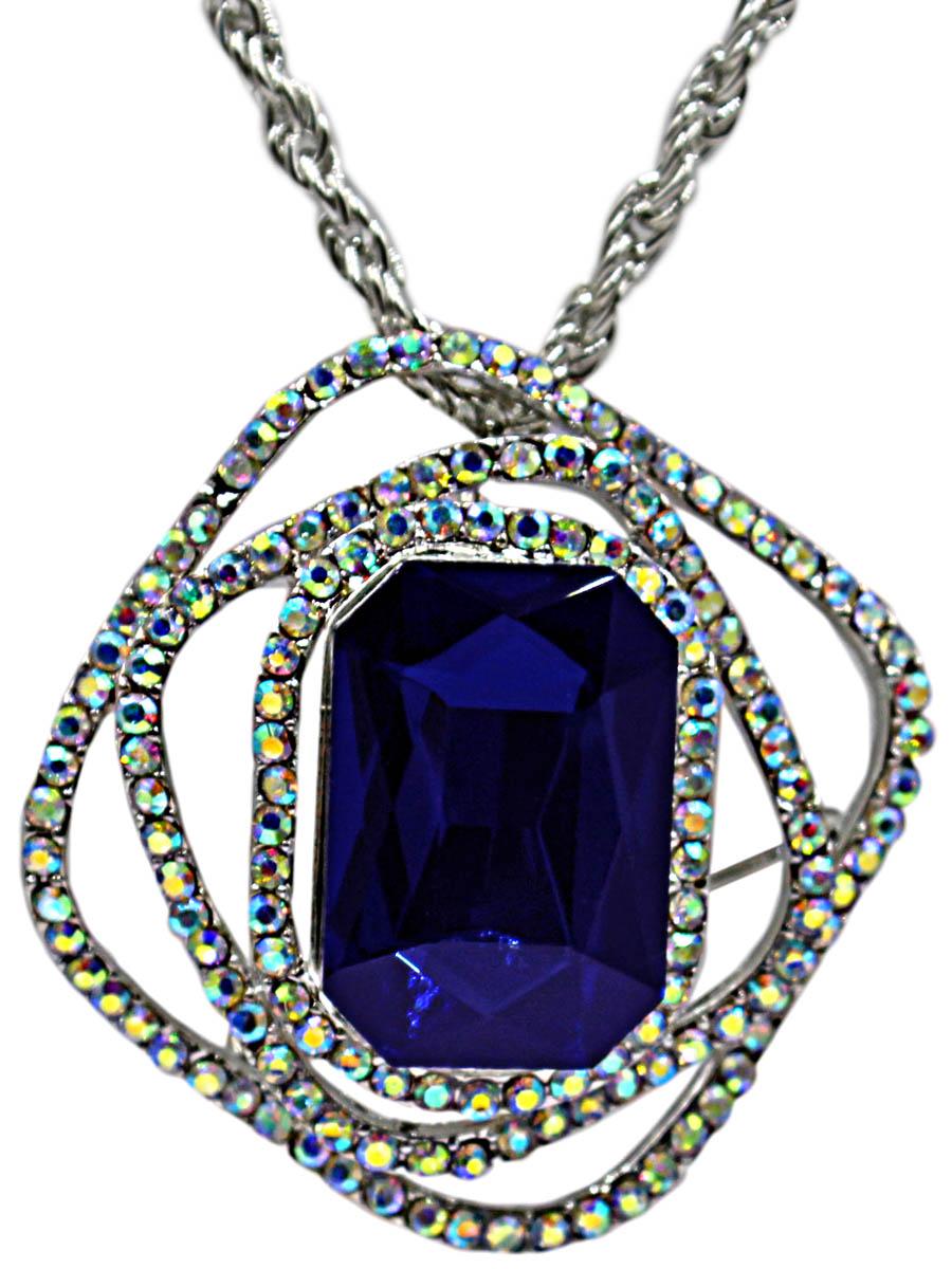 Брошь-кулон с цепочкой Taya, цвет: серебристый, темно-синий. T-B-10892-NECK-SL.D.BLUE