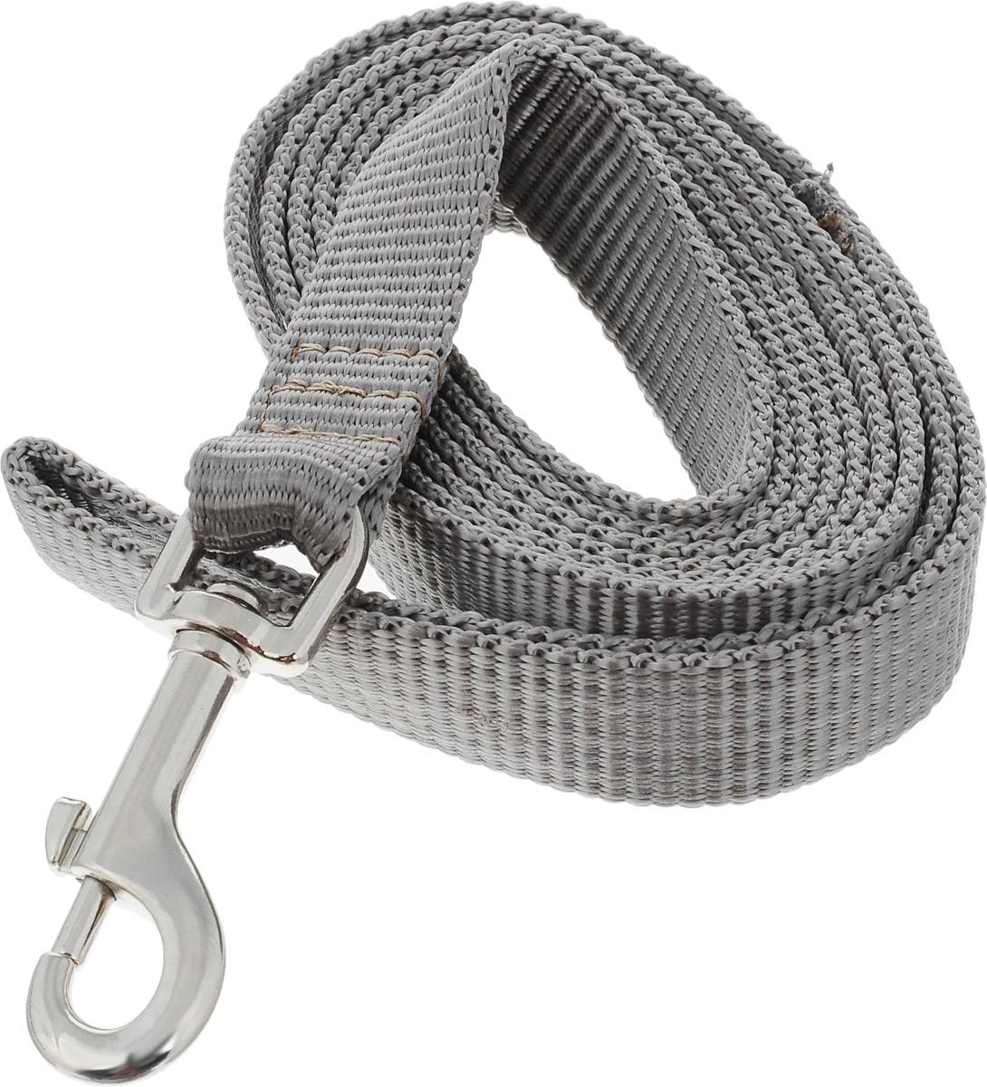 Поводок капроновый для собак Аркон, цвет: серый, ширина 2 см, длина 2 м поводок капроновый для собак аркон цвет розовый ширина 2 см длина 5 м