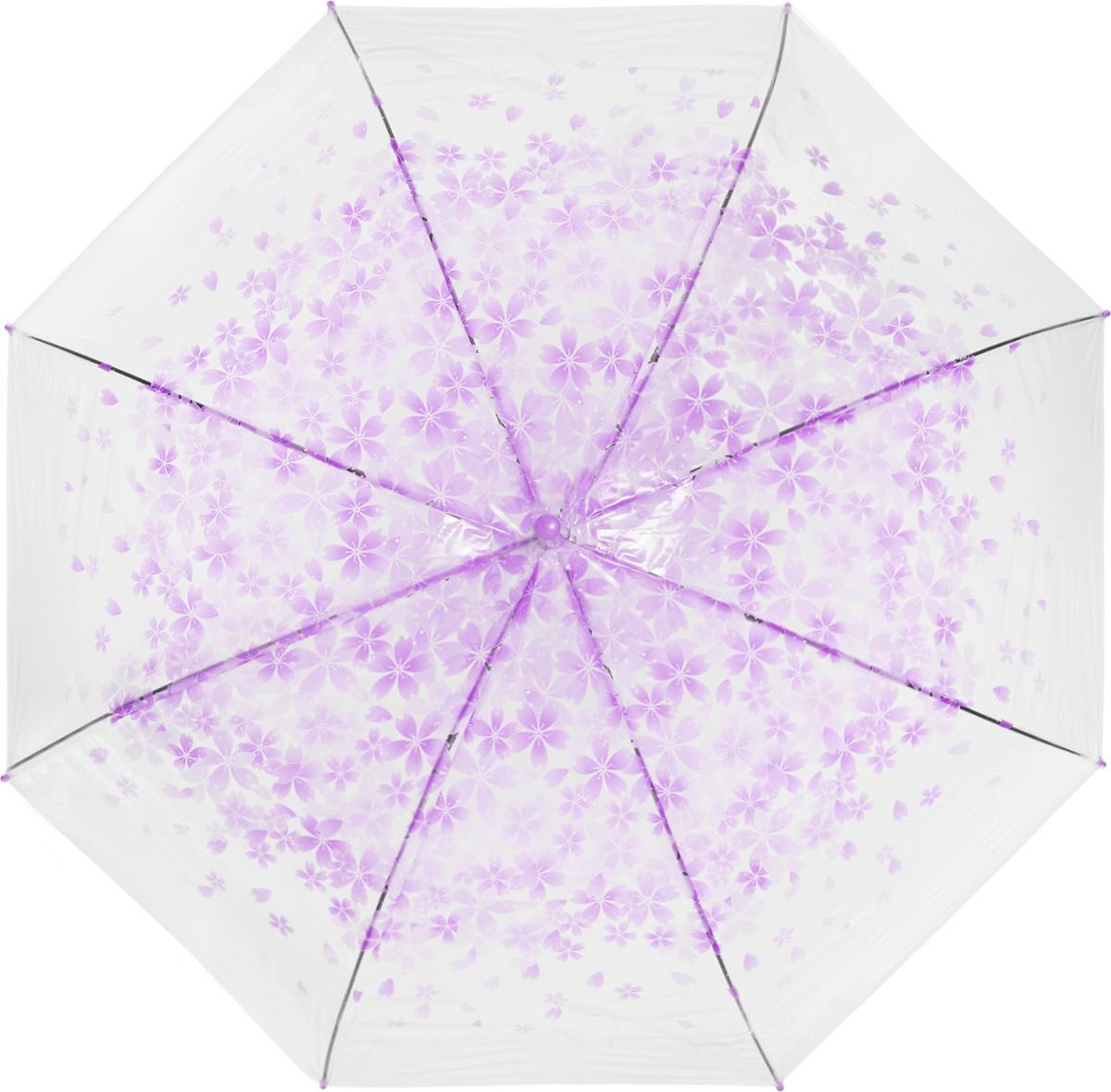 Зонт женский Эврика, цвет: прозрачный, фиолетовый. 97507
