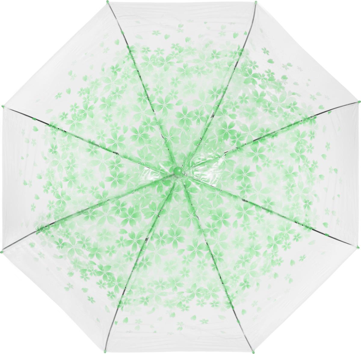 Зонт женский Эврика, цвет: прозрачный, зеленый. 97505
