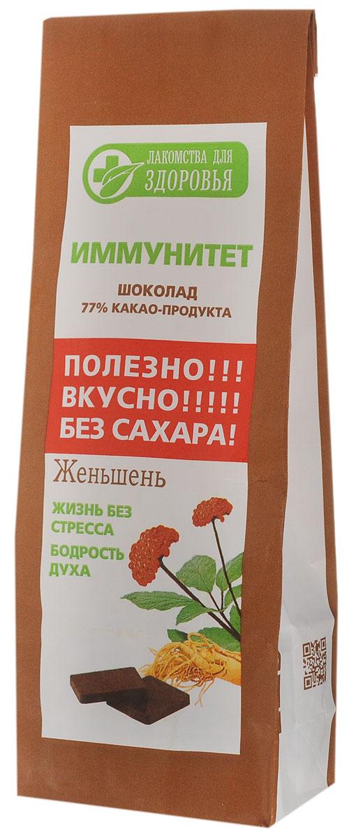 Лакомства для здоровья Шоколад горький с женьшенем, 100 г