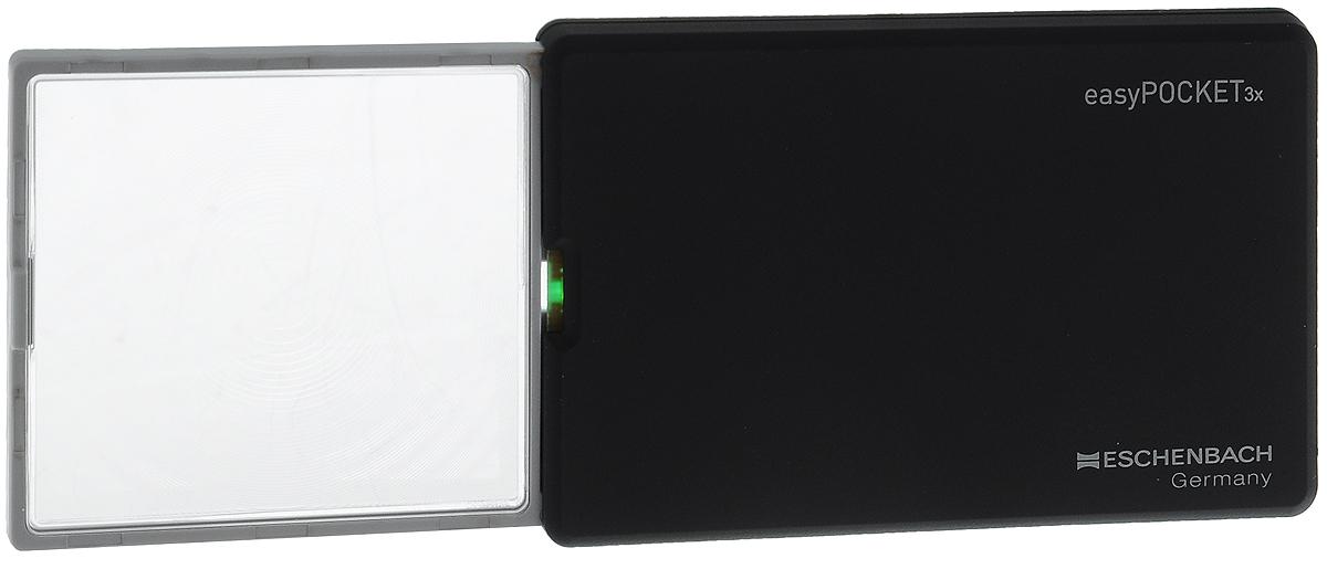Лупа выдвижная Eschenbach EasyPOCKET, с подсветкой, цвет: черный, 3.0х 8.0 дптр, 5 х 4,5 см лупа выдвижная eschenbach designo 5 0х 20 0 дптр диаметр 3 см