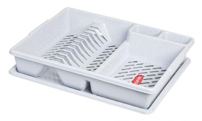 Сушилка для посуды Curver, с поддоном, цвет: светло-серый, 47 х 38 х 8,5 см утюг tefal fv5648e0