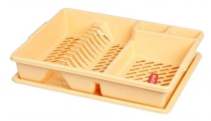 Сушилка для посуды Curver, с поддоном, цвет: желтый, 47 х 38 х 8,5 см сушилка для посуды curver deco 39 5 39 5 10 см красный