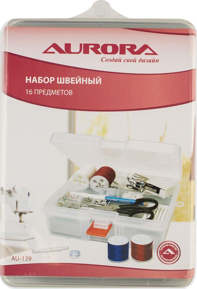 Набор швейный Aurora 16 предметов лапка для трикотажа для шв маш aurora au 126