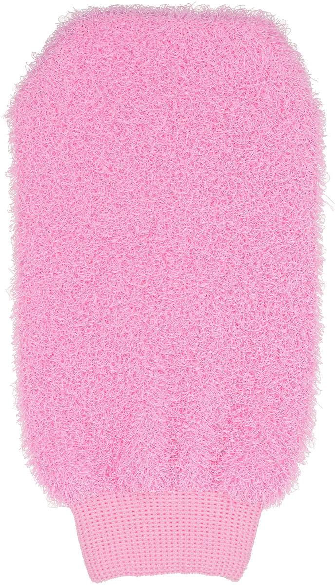 Мочалка-рукавица Riffi, жесткая, цвет: розовый мочалка рукавица riffi мягкая цвет бежевый