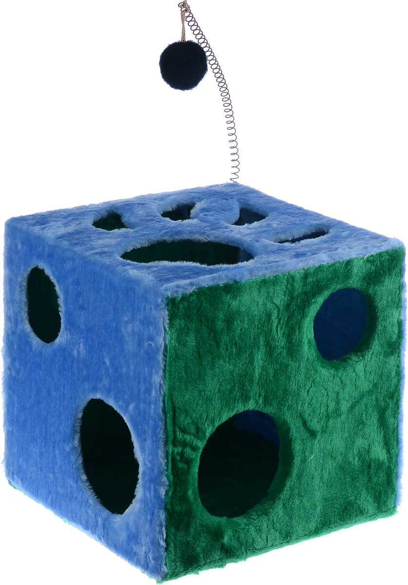 Домик для кошек ЗооМарк Кубик с лапкой, с игрушкой, цвет: голубой, зеленый, 42 х 42 х 42 см цена