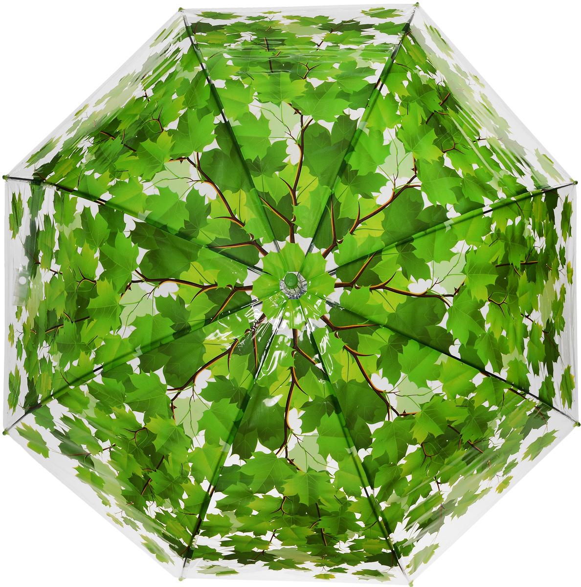 Зонт женский Эврика Листья, полуавтомат, цвет: зеленый. 96566