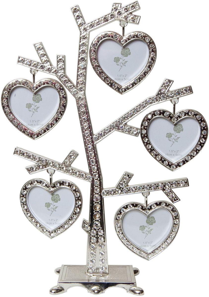 Фоторамка Platinum Дерево, цвет: светло-серый, на 5 фото, 5 x 6 см. PF9631 фоторамка platinum дерево сердца цвет светло серый на 2 фото 8 x 8 см pf10019a
