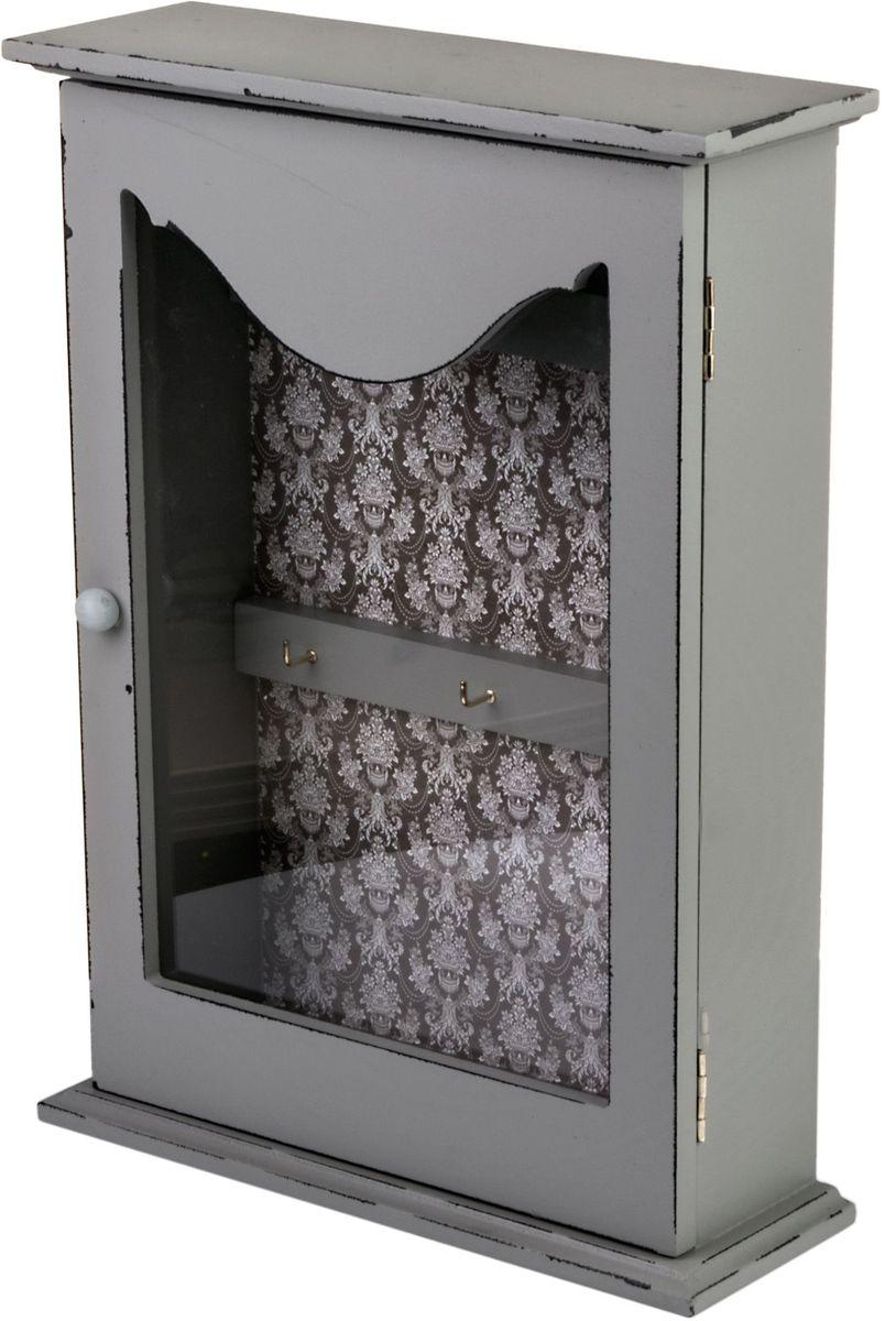 "Ключница ""Miralight"", со стеклянной дверцей, 22 х 7,7 х 30,5 см, цвет: светло-серый. ML-4783"