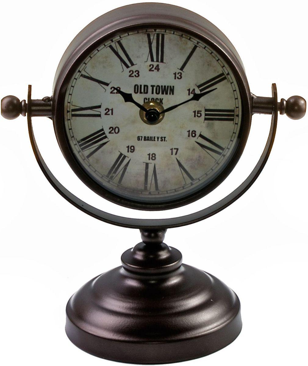 Часы настольные Miralight Copper, на подставке, цвет: темная медьML-5161 Copper Часы настольные на подставке, тёмная медьЧасы настольные Miralight Copper, изготовленные из металла, прекрасно украсят интерьер вашего помещения. Часы, выполненные в модном стиле ретро, имеют оригинальную подставку для удобного размещения на столе и массивный металлический корпус. Состаренный циферблат круглой формы имеет две стилизованные фигурные стрелки: часовую и минутную и элегантные римские цифры. Питание осуществляется от одной батарейки типа АА (не входит в комплект). Оформите свой дом таким интерьерным аксессуаром или преподнесите его в качестве презента друзьям, и они оценят ваш оригинальный вкус и неординарность подарка. Рекомендуем!