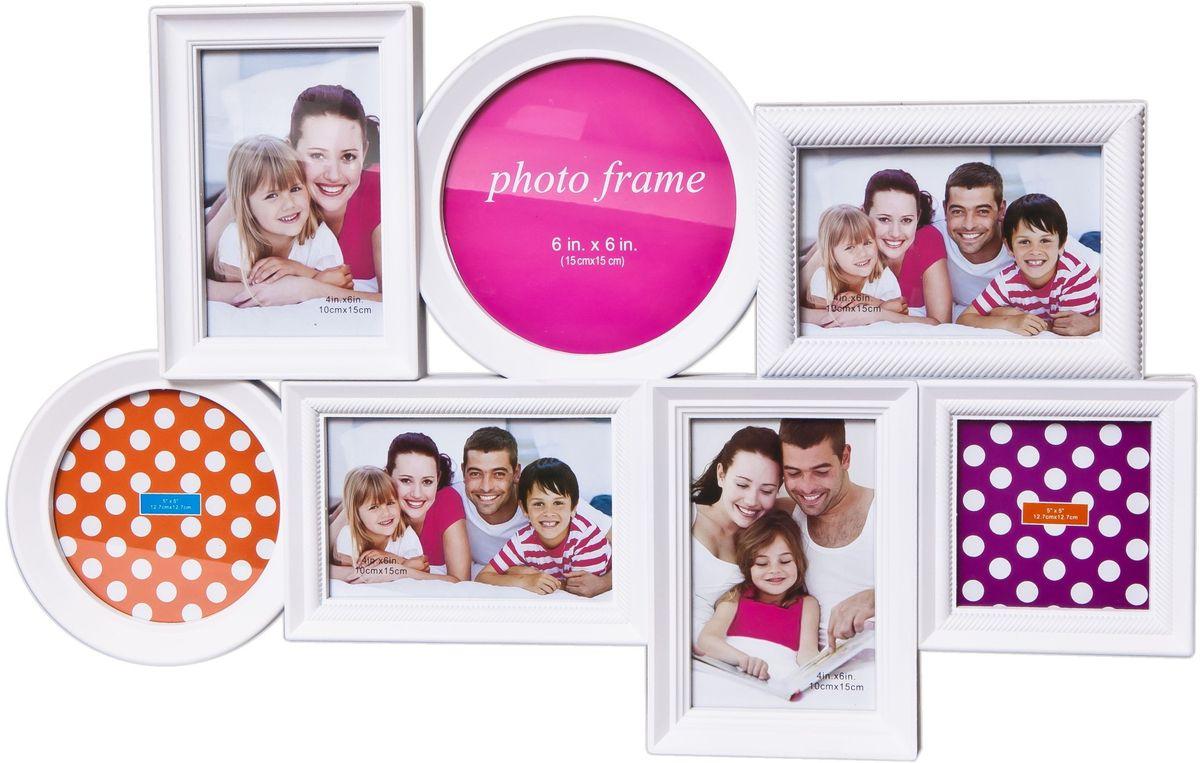 Фоторамка Platinum, цвет: белый, на 7 фото фотоальбом platinum классика 240 фотографий 10 x 15 см