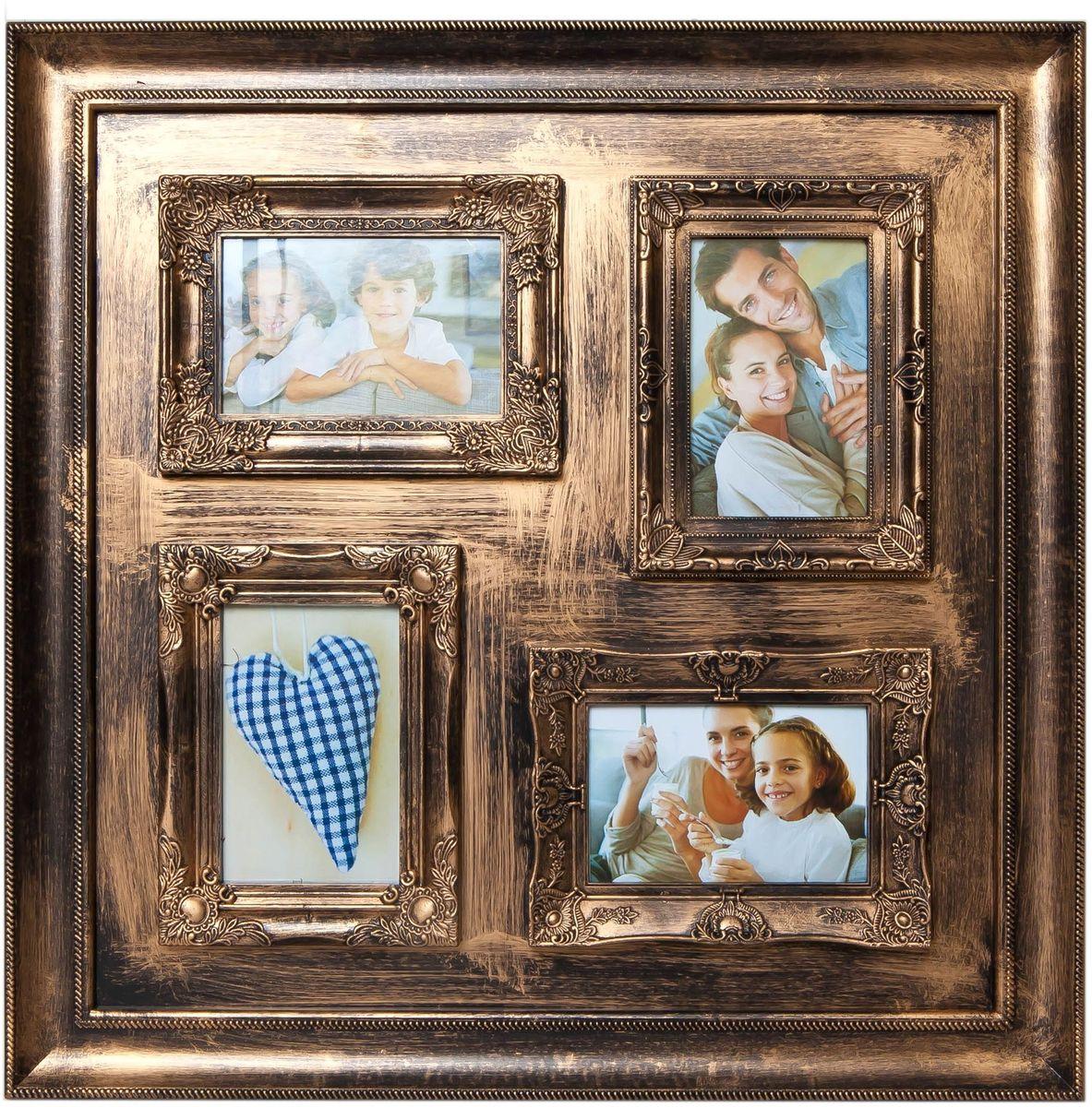 Фоторамка Platinum, цвет: золотистый, на 4 фото 10 х 15 см фотоальбом platinum ландшафт 1 200 фотографий 10 х 15 см цвет зеленый голубой коричневый pp 46200s