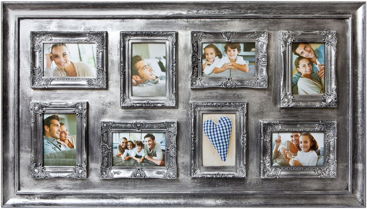 Фоторамка Platinum, цвет: серебристый, на 8 фото 10 х 15 см фотоальбом platinum ландшафт 1 200 фотографий 10 х 15 см цвет зеленый голубой коричневый pp 46200s