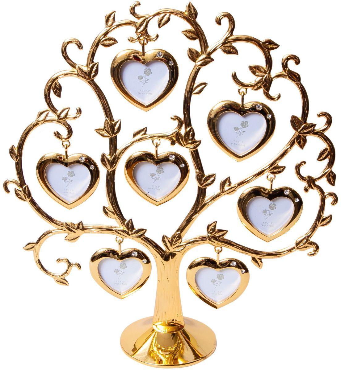 Фоторамка Platinum Дерево. Сердца, цвет: золотистый, на 7 фото, 4 x 4 см. PF9460CSG фоторамка platinum дерево сердца цвет светло серый на 2 фото 8 x 8 см pf10019a
