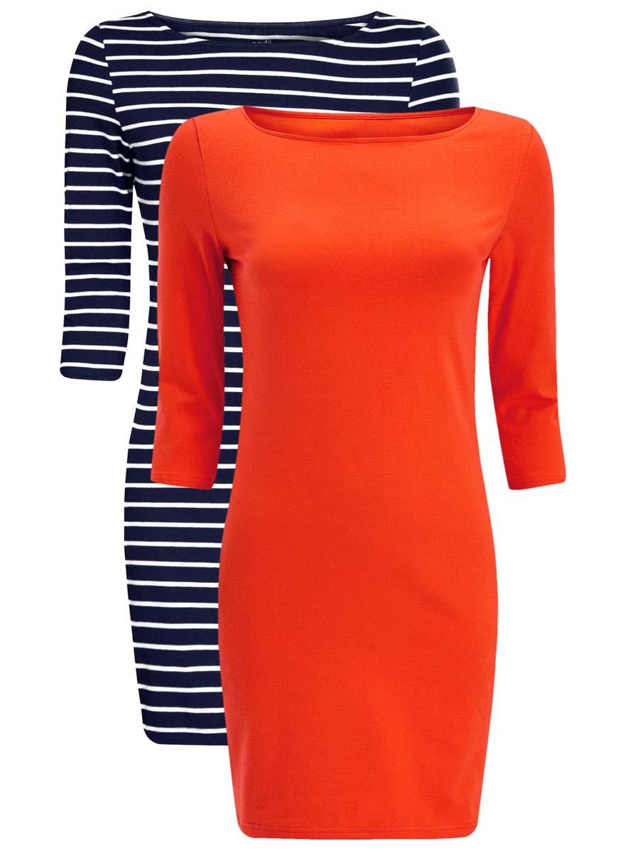 Платье oodji Ultra, цвет: красный, темно-синий, 2 шт. 14001071T2/46148/4579N. Размер S (44)14001071T2/46148/4579NКомплект из двух мини-платьев oodji Ultra изготовлен из хлопка с добавлением эластана. Обтягивающие платья с круглым вырезом и рукавами 3/4 выполнены в лаконичном дизайне. В комплекте два платья.