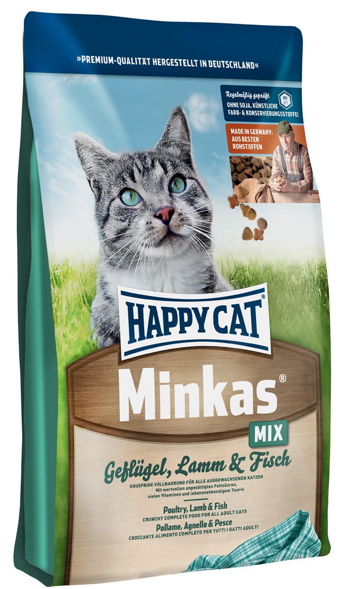 Корм сухой Happy Cat Minkas Mix для взрослых кошек, с птицей, ягненком и рыбой, 1,5 кг happy cat сухой корм премим класса happy cat minkas для взрослых кошек с птицей