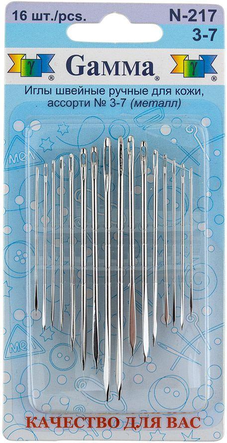 Иглы ручные Gamma, для кожи, №3-7, 16 шт набор луп для рукоделия gamma 3 шт