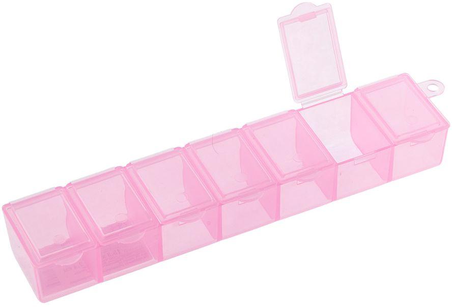 Органайзер для рукоделия Gamma, цвет: прозрачный розовый. T-35 набор луп для рукоделия gamma 3 шт