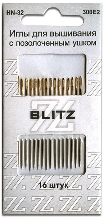 Иглы ручные Blitz, для шитья, 16 шт. HN-32 300Е2 blitz