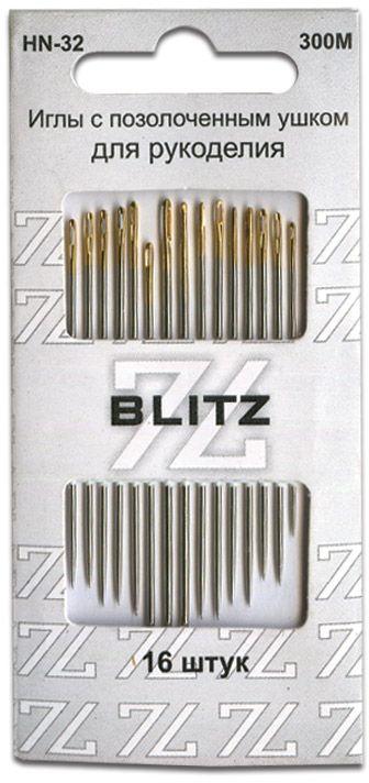 Иглы ручные Blitz, для шитья, 16 шт. HN-32 300М blitz