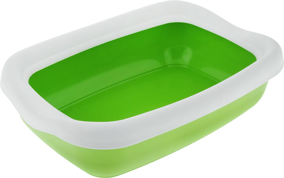 Туалет для кошек MPS Beta Maxi, с бортом, цвет: зеленый, белый, 49 х 39 х 13 см средство для маникюра и педикюра supra mps 112 зеленый белый