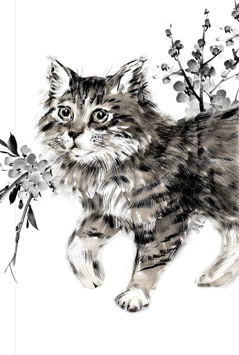 Японская живопись суми-э. Кот. Блокнот mini.