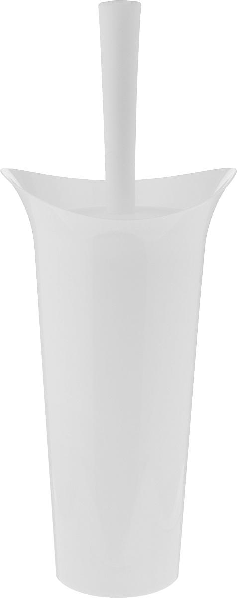 Ершик для унитаза Idea Лотос, с подставкой, цвет: белый, высота 36 см ершик для унитаза idea лотос деко барокко с подставкой высота 36 см