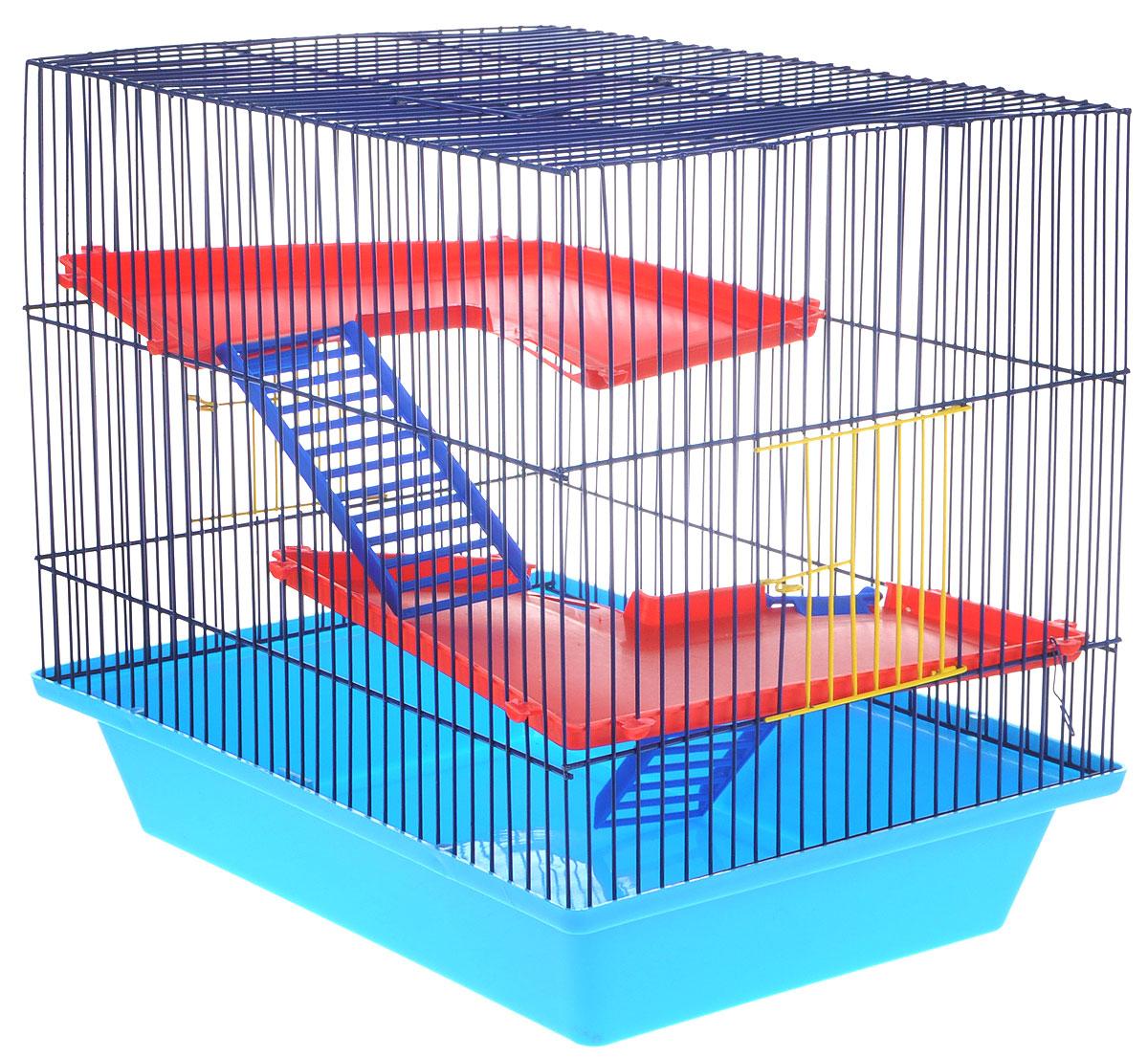 Клетка для грызунов ЗооМарк Гризли, 3-этажная, цвет: синий поддон, синяя решетка, красные этажи, 41 х 30 х 36 см клетка для грызунов зоомарк гризли 4 этажная цвет красный поддон синяя решетка красные этажи 41 х 30 х 50 см