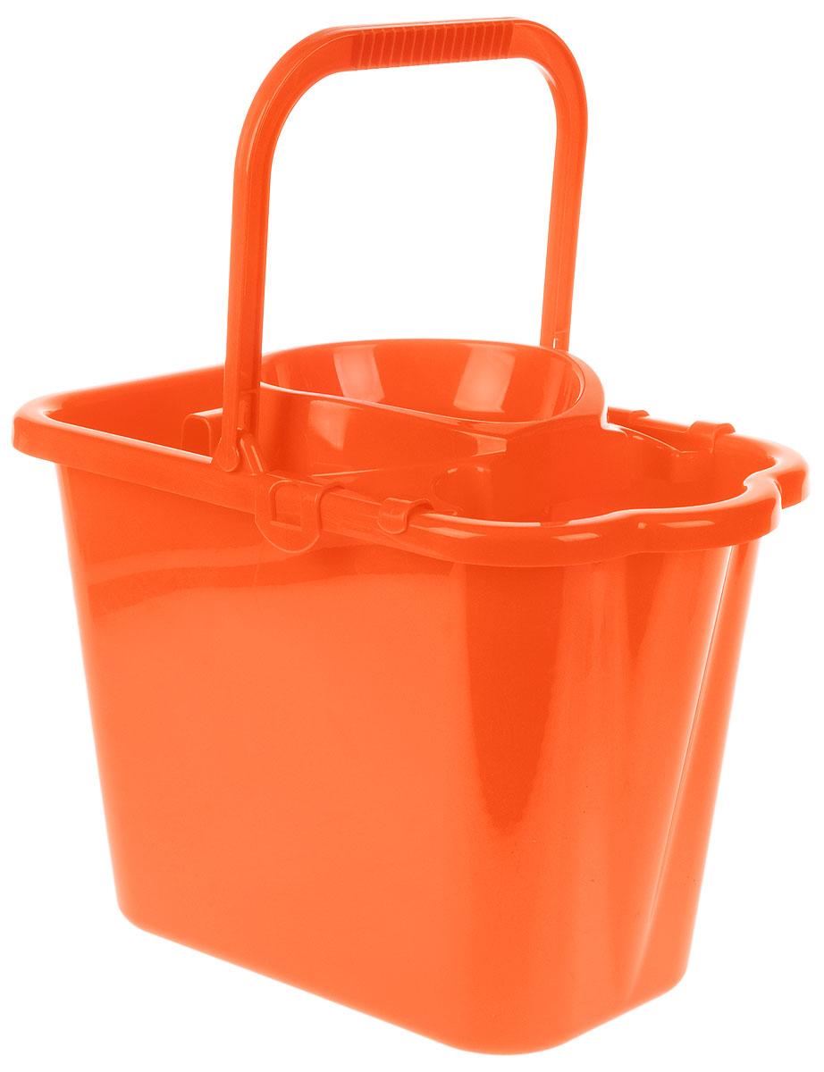 Ведро хозяйственное Idea, прямоугольное, с отжимом, цвет: оранжевый, 9,5 лМ 2421Прямоугольное ведро Idea изготовлено из прочного пластика. Изделие порадует практичных хозяек. Ведро снабжено специальной насадкой с технологией Power Press, которая обеспечивает интенсивный отжим ленточных швабр. Это значительно уменьшает физические нагрузки при мытье полов. Насадка надежно крепится на ведро и также легко снимается, позволяя хранить ее отдельно. Для удобного использования ведро имеет пластиковую ручку и носик для выливания воды. Размер ведра (по верхнему краю): 36 х 21,5 см. Высота стенки: 27 см.
