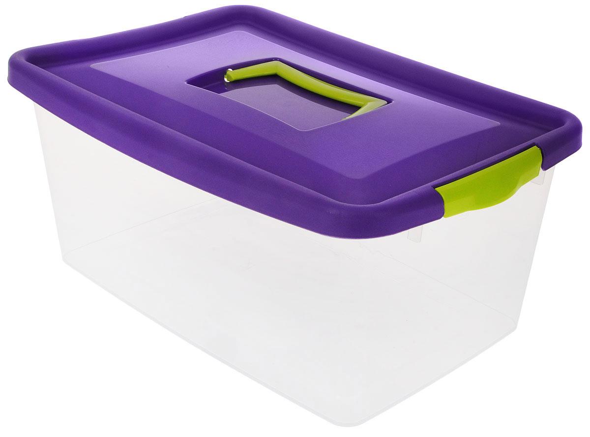 Контейнер для хранения Idea, цвет: прозрачный, фиолетовый, салатовый, 9 л контейнер для хранения idea прямоугольный цвет салатовый прозрачный 8 5 л