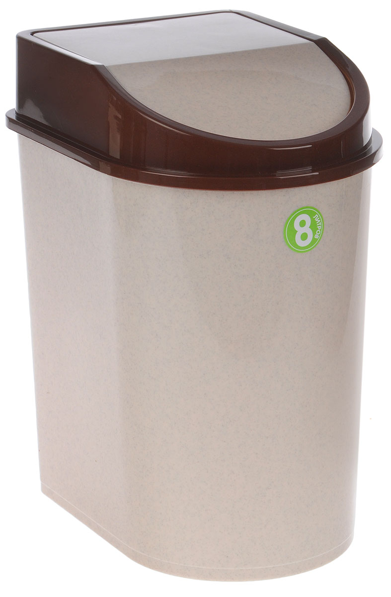 Контейнер для мусора Idea, цвет: бежевый, коричневый, 8 л контейнер для мусора idea хапс цвет коричневый мрамор 15 л