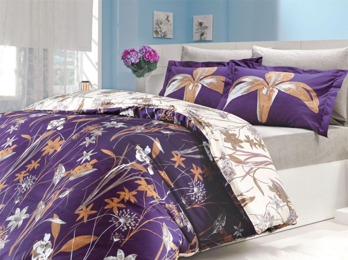 """Комплект белья Hobby Home Collection """"Clarinda"""", 1,5-спальный, наволочки 50x70, 70x70, цвет: фиолетовый"""