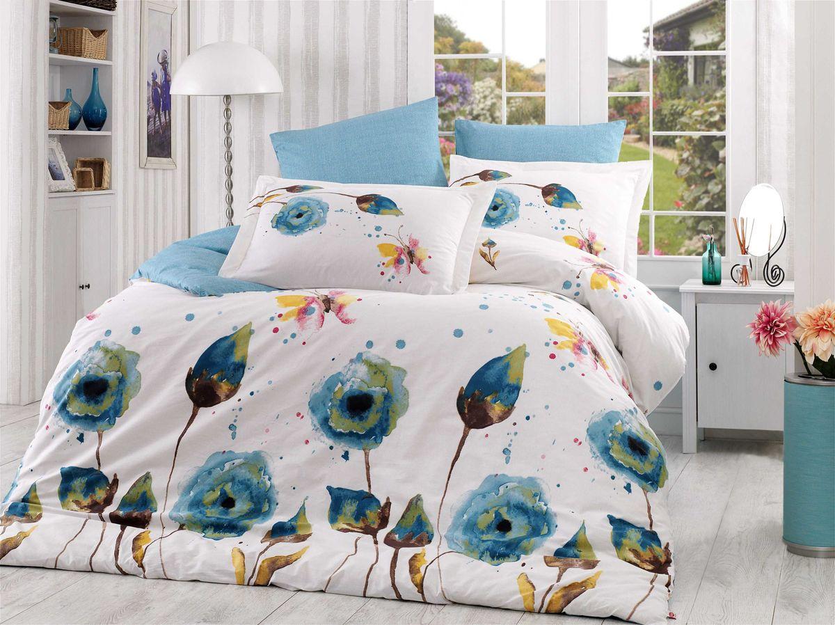 Комплект белья Hobby Home Collection Veronika, 1,5-спальный, наволочки 50x70, 70x70, цвет: бирюзовый цена