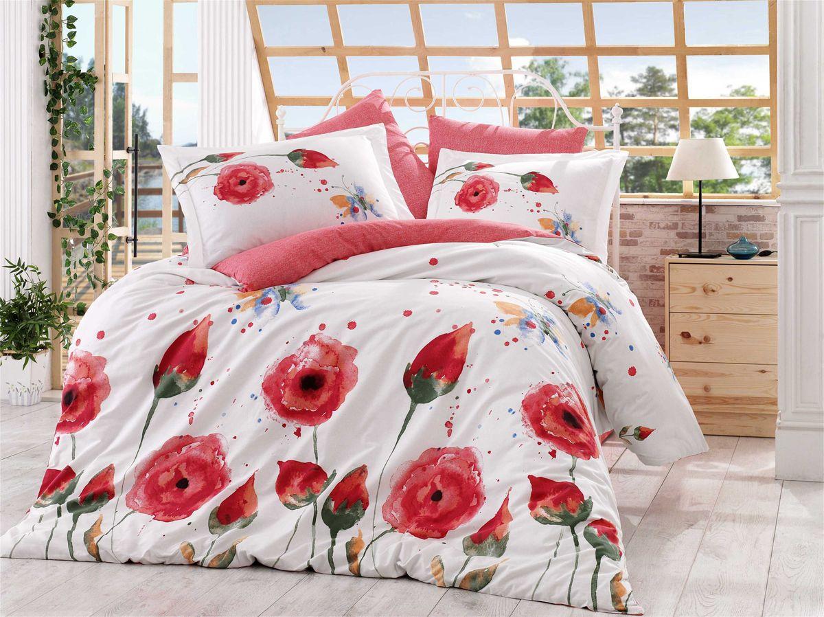 Комплект белья Hobby Home Collection Veronika, 1,5-спальный, наволочки 50x70, 70x70, цвет: красный цена