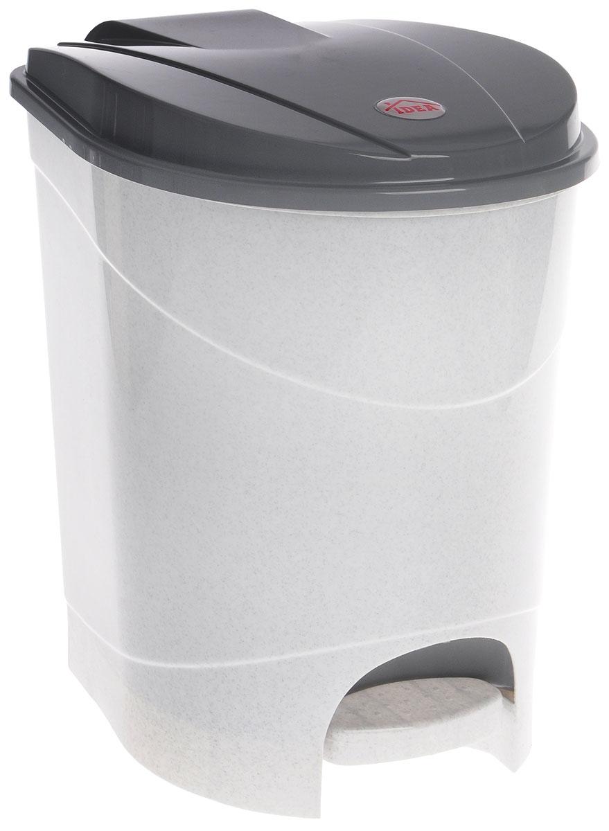 Контейнер для мусора Idea, с педалью, цвет: мраморный, 19 л контейнер для мусора idea свинг цвет белый мрамор 25 л
