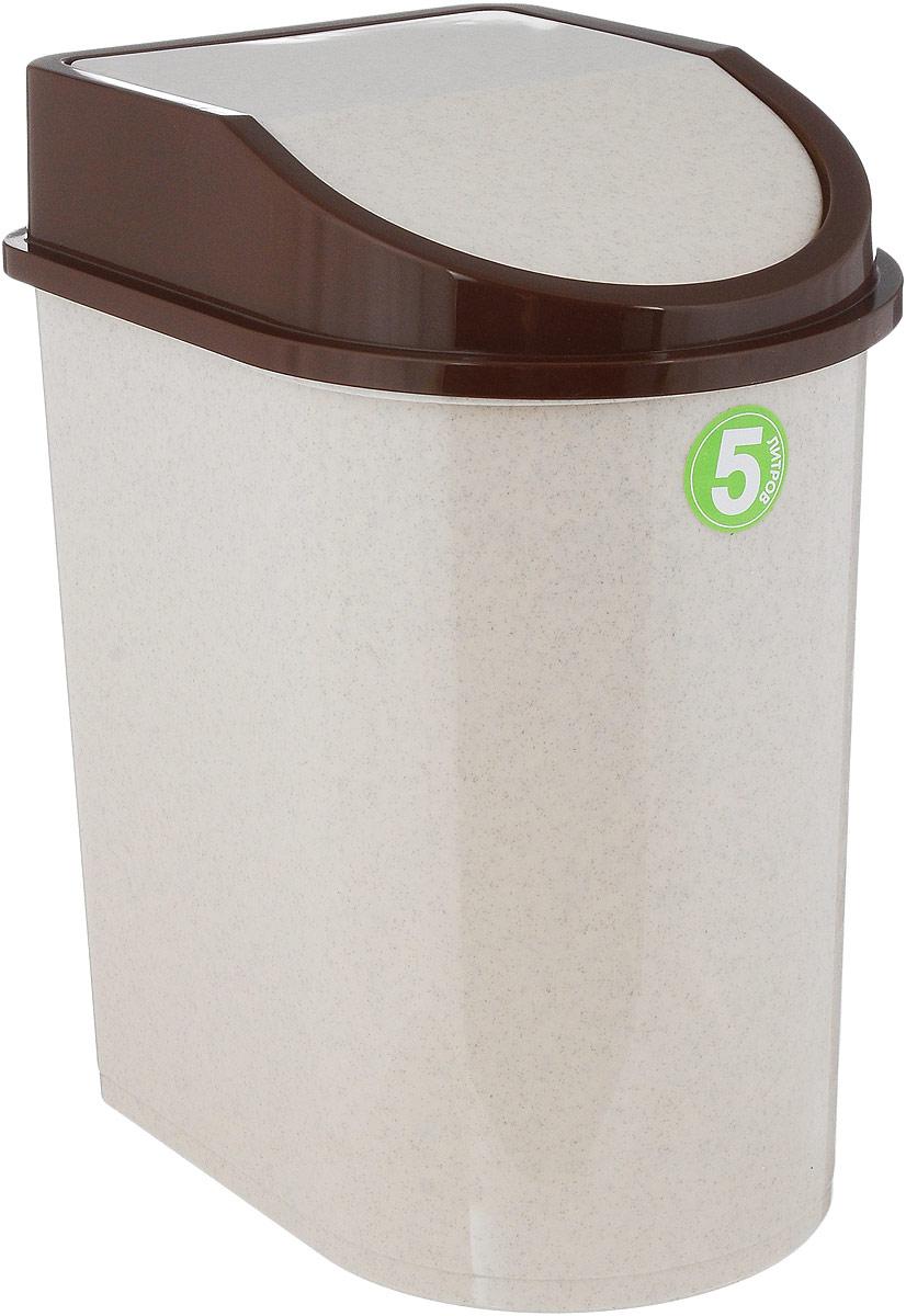 Контейнер для мусора Idea, цвет: бежевый, коричневый, 5 л контейнер для мусора idea хапс цвет коричневый мрамор 15 л