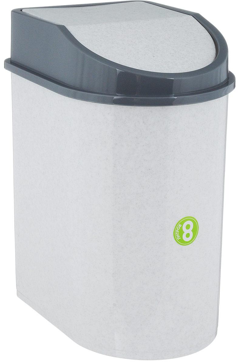 """Контейнер для мусора """"Idea"""", цвет: мраморный, серый, 8 л"""