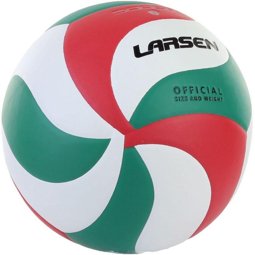 Мяч волейбольный Larsen, цвет: белый, красный, зеленый. Размер 5 мяч волейбольный larsen kicker tip