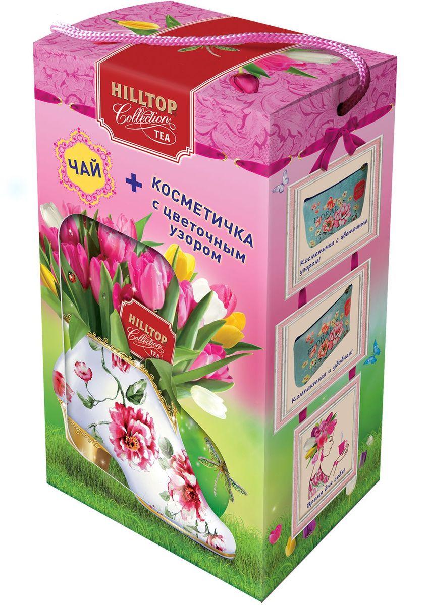 Hilltop Набор Яркие тюльпаны черный листовой чай Подарок Цейлона, 80 г + косметичка hilltoр волшебный дед мороз чай черный листовой подарок цейлона 80 г