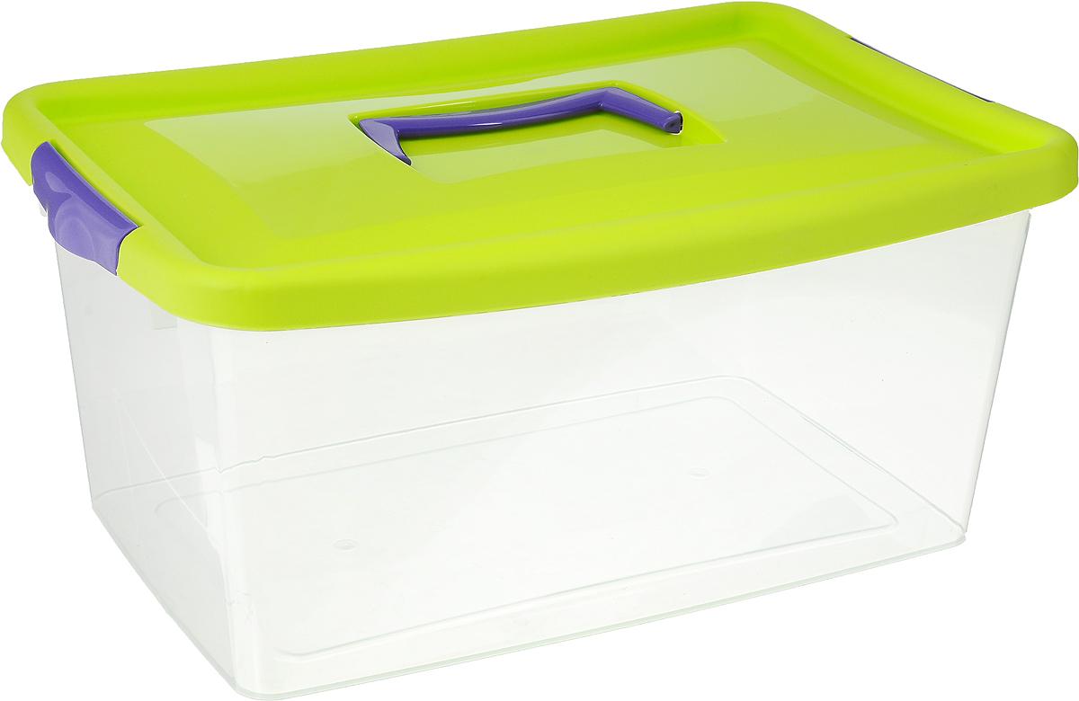Контейнер для хранения Idea, цвет: прозрачный, салатовый, фиолетовый, 9 л контейнер для хранения idea прямоугольный цвет салатовый прозрачный 8 5 л