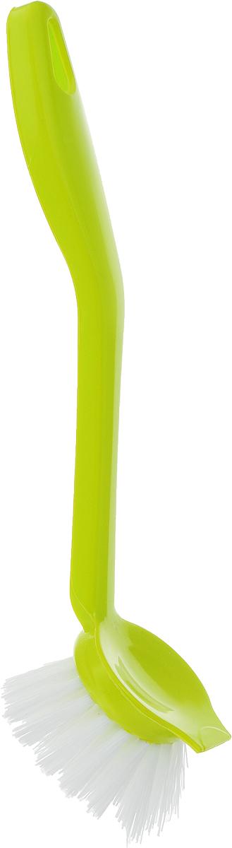 цена на Щетка для мытья посуды Idea Колибри, со скребком, цвет: салатовый, длина 23 см